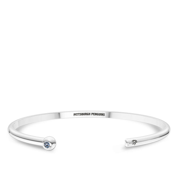 Pittsburgh Penguins White Sapphire Engraved Cuff Bracelet In Sterling Silver