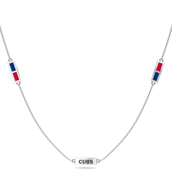 Chicago Cubs Triple Station Necklace In Sterling Silver