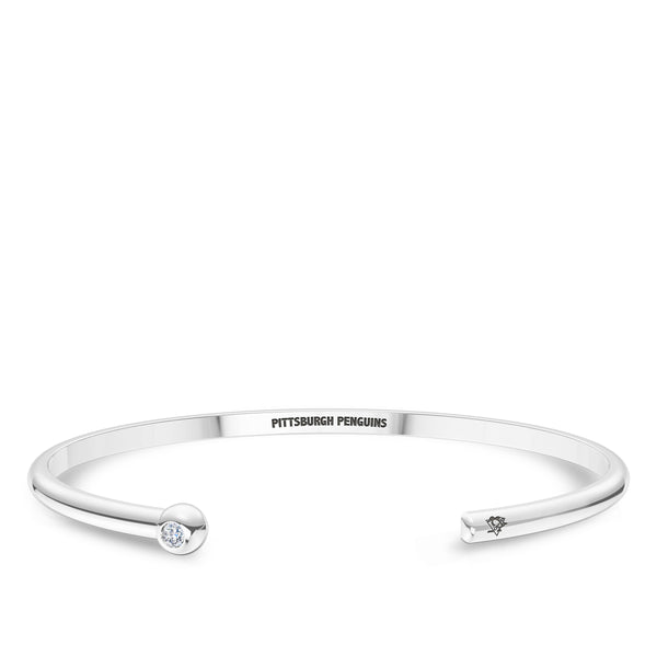 Pittsburgh Penguins Diamond Engraved Cuff Bracelet In Sterling Silver