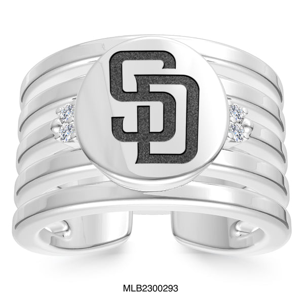 San Diego Padres Diamond Logo Engraved Multiband Ring In Sterling Silver
