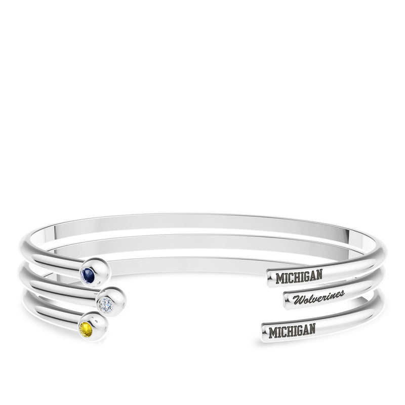 The University Of Michigan White Sapphire Engraved Cuff Bracelet In Sterling Silver