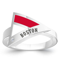 Boston Red Sox Diamond Engraved Geometric Ring In Sterling Silver