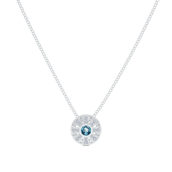Bixlers Easton Diamond Milgrain Sun Pendant In 14K White Gold