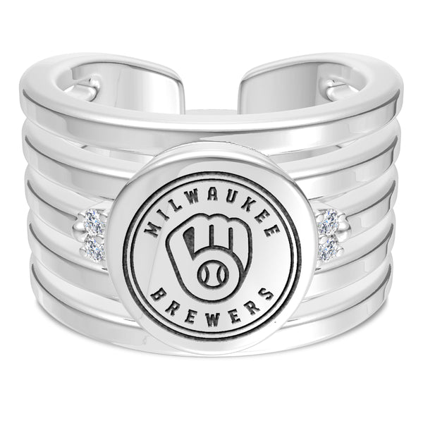 Milwaukee Brewers Diamond Logo Engraved Multiband Ring In Sterling Silver