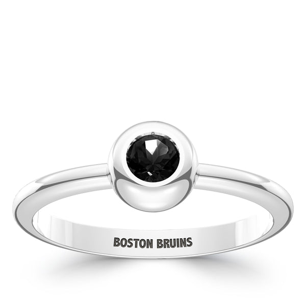 Boston Bruins Onyx Engraved Ring In Sterling Silver