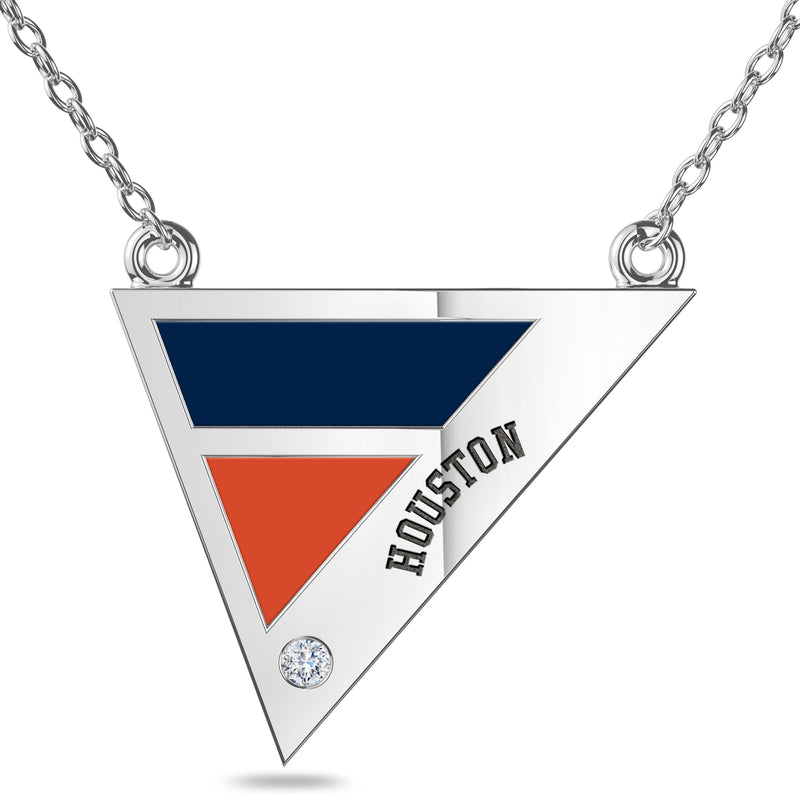 Houston Astros Geometric Necklace In Sterling Silver