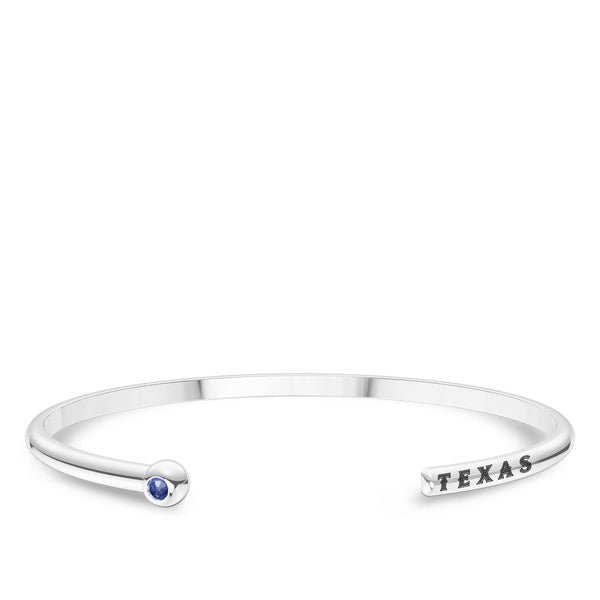 Texas Rangers Sapphire Engraved Cuff Bracelet In Sterling Silver