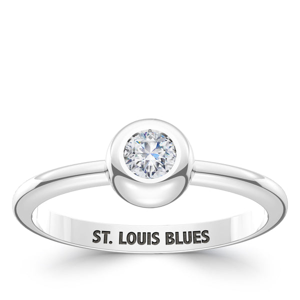 St. Louis Blues Diamond Engraved Ring In Sterling Silver