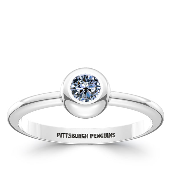 Pittsburgh Penguins White Sapphire Engraved Ring In Sterling Silver