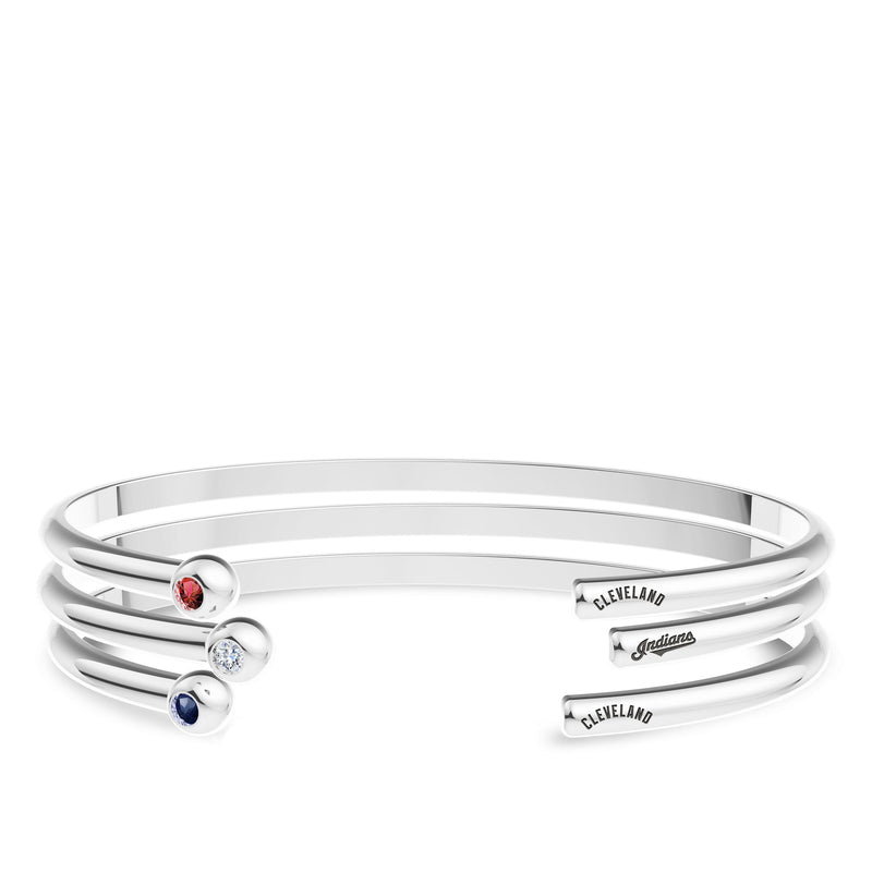 Cleveland Indians Diamond Engraved Cuff Bracelet In Sterling Silver