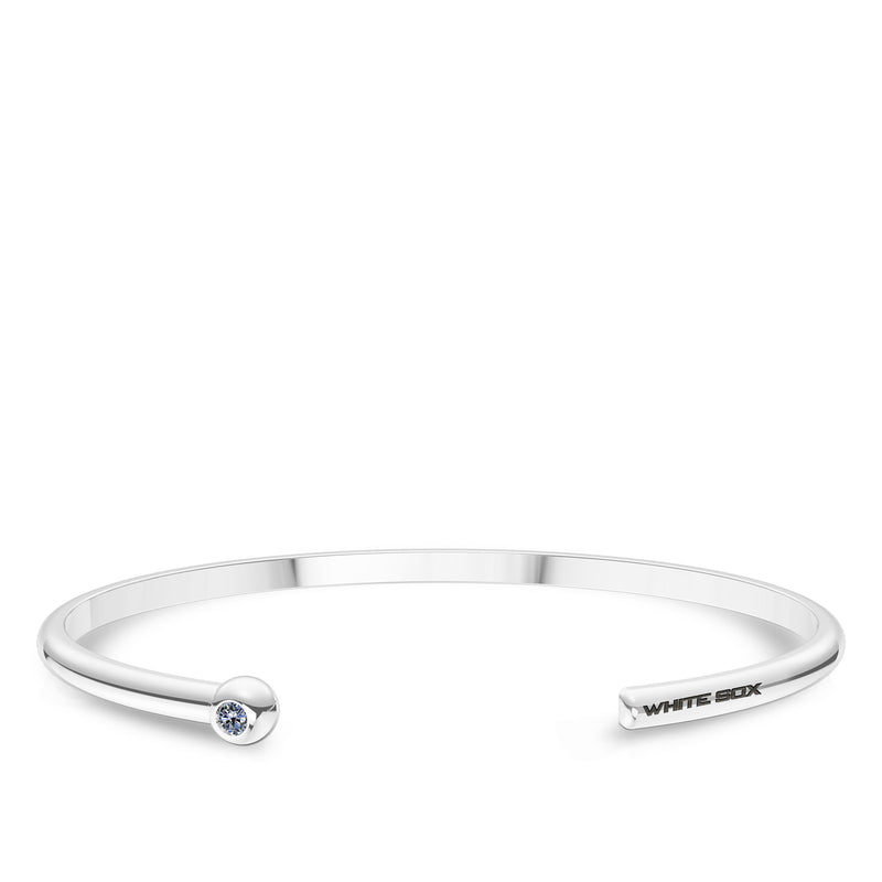 Chicago White Sox White Sapphire Engraved Cuff Bracelet In Sterling Silver