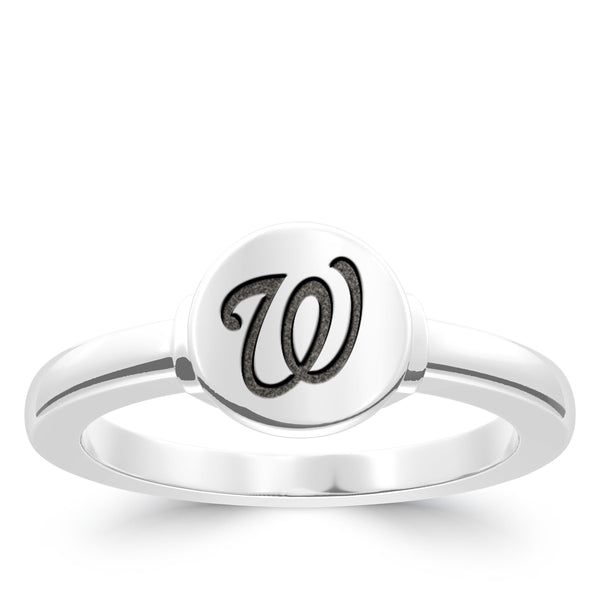 Washington Nationals Logo Engraved Ring In Sterling Silver