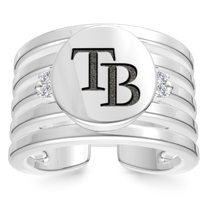 Tampa Bay Rays Diamond Logo Engraved Multiband Ring In Sterling Silver