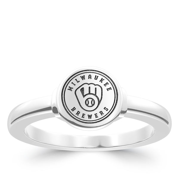 Milwaukee Brewers Logo Engraved Ring In Sterling Silver