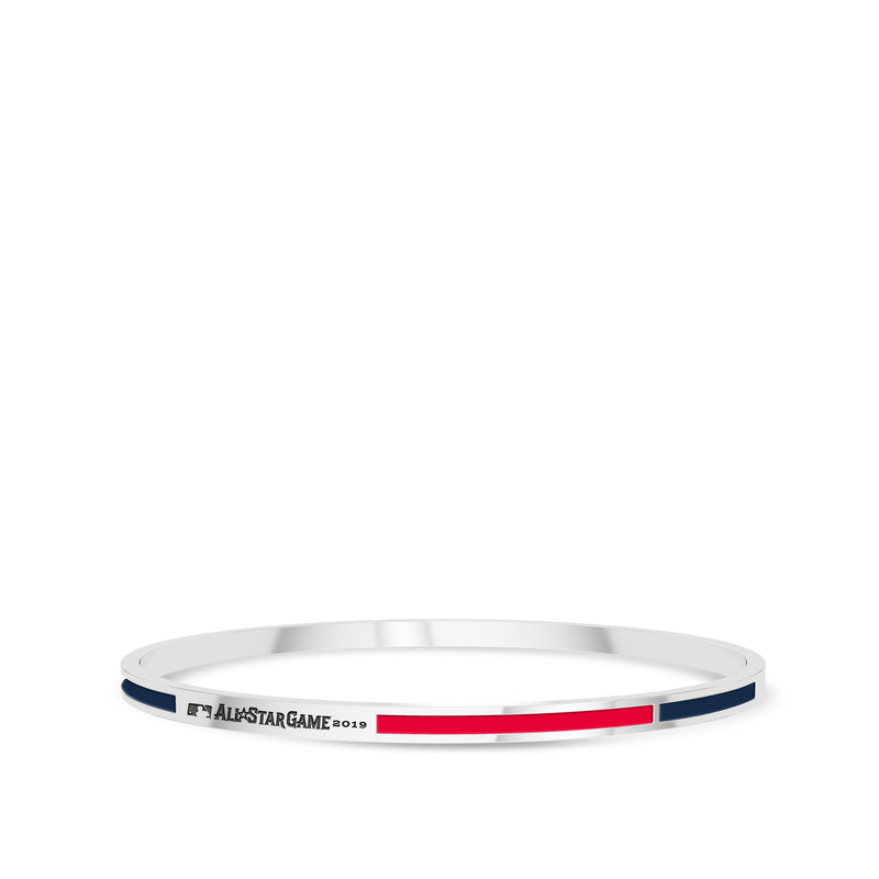 Mlb Engraved Two-Tone Enamel Bracelet In Sterling Silver