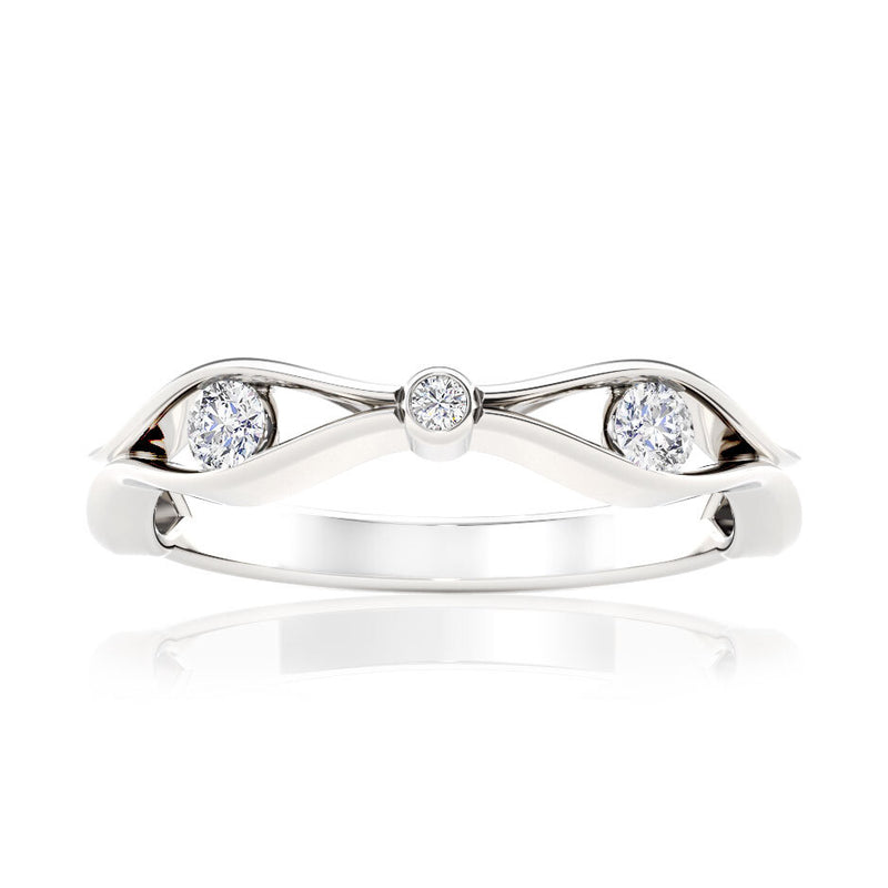 Bixlers Easton Diamond Open Wave Ring In 14K White Gold