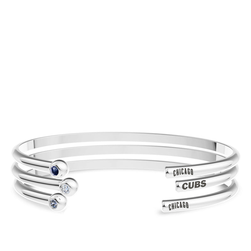Chicago Cubs White Sapphire Engraved Cuff Bracelet In Sterling Silver