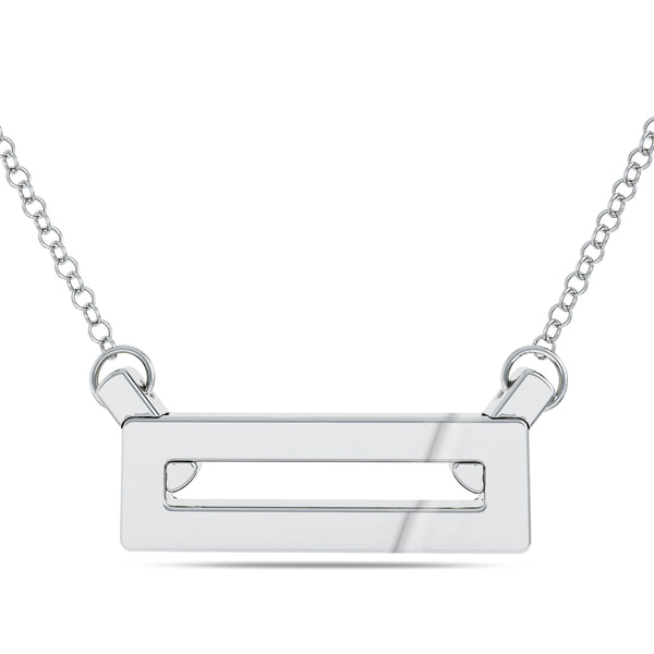 Bixlers Simplicity Diamond Pave Rectangle Necklace In Sterling Silver
