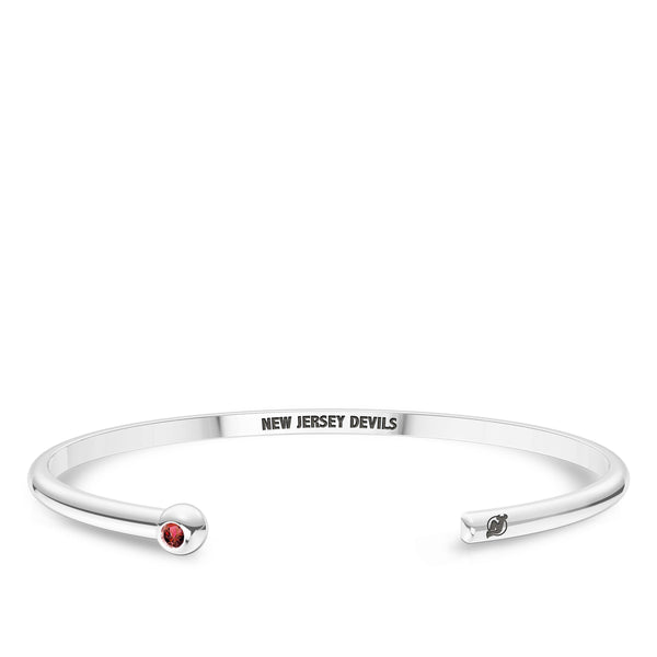 New Jersey Devils Ruby Engraved Cuff Bracelet In Sterling Silver