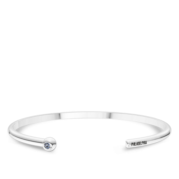 Philadelphia Phillies White Sapphire Engraved Cuff Bracelet In Sterling Silver