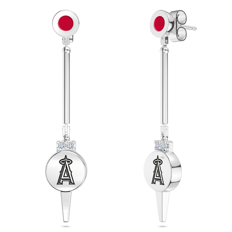 Los Angeles Angels Diamond Logo Engraved Enamel Dangle Earring In Sterling Silver