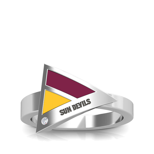 Arizona State University Diamond Engraved Geometric Ring In Sterling Silver