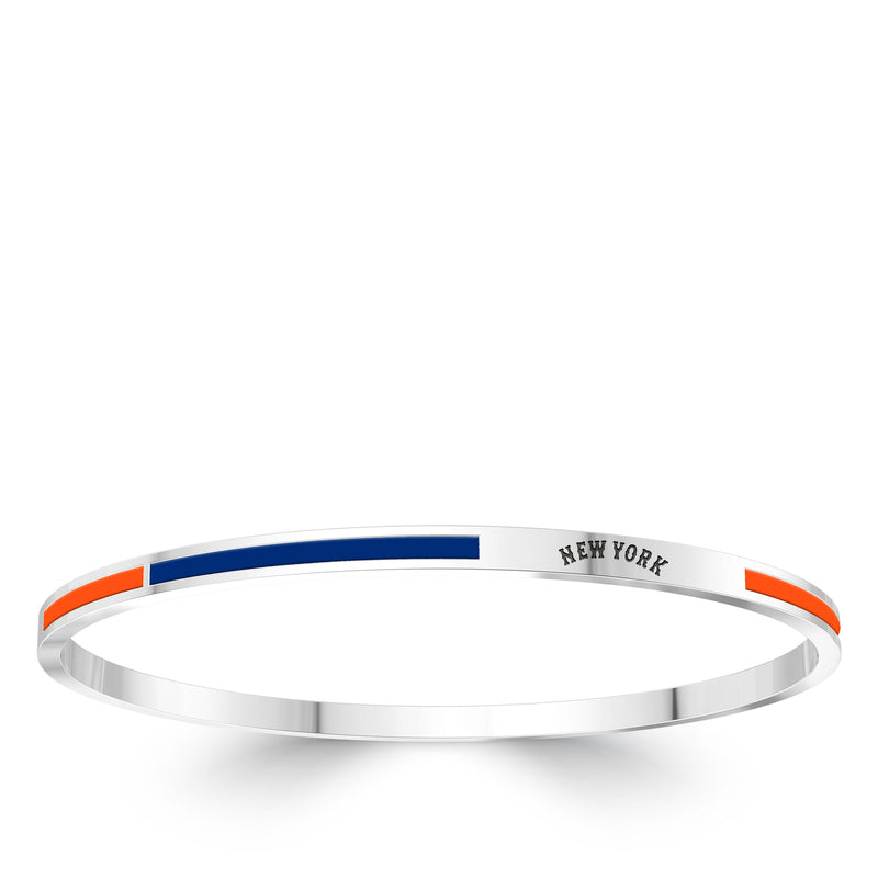 New York Mets Engraved Two-Tone Enamel Bracelet In Sterling Silver