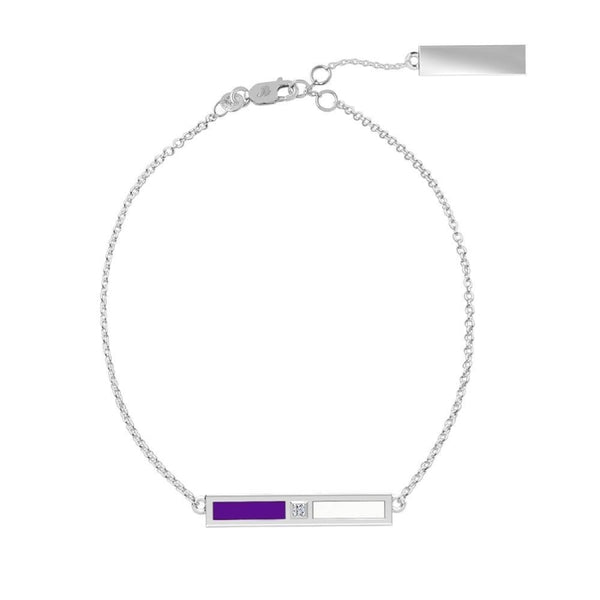 New York University Diamond Bar Bracelet In Sterling Silver