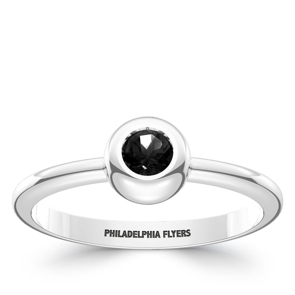 Philadelphia Flyers Onyx Engraved Ring In Sterling Silver