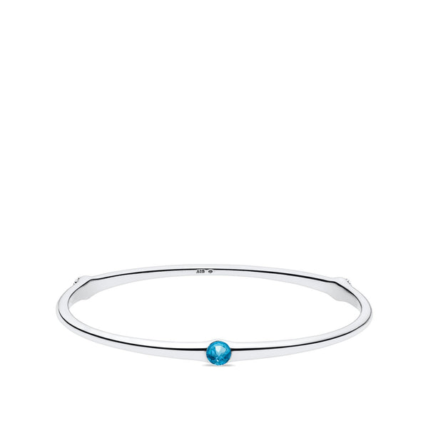 Bixlers Easton Half Bezel Blue Topaz Bangle In Sterling Silver