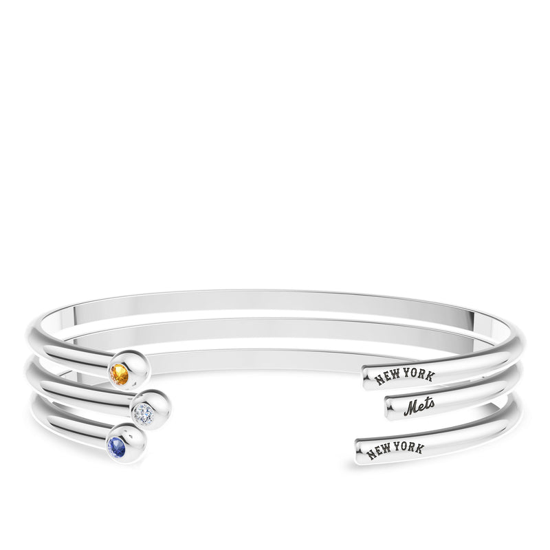 New York Mets Sapphire Engraved Cuff Bracelet In Sterling Silver