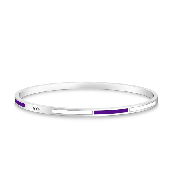 New York University Engraved Two-Tone Enamel Bracelet In Sterling Silver