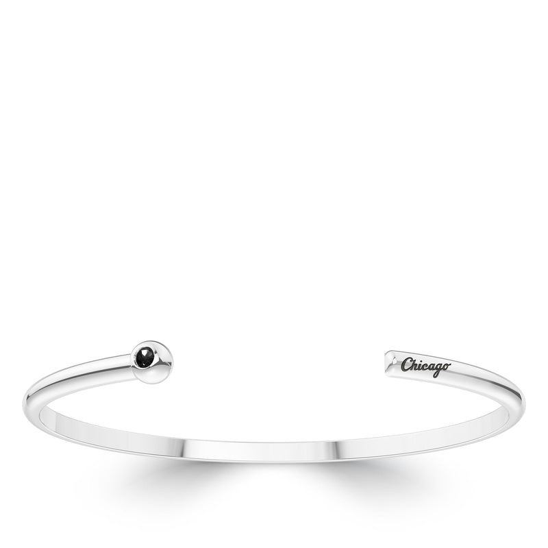 Chicago White Sox Onyx Engraved Cuff Bracelet In Sterling Silver