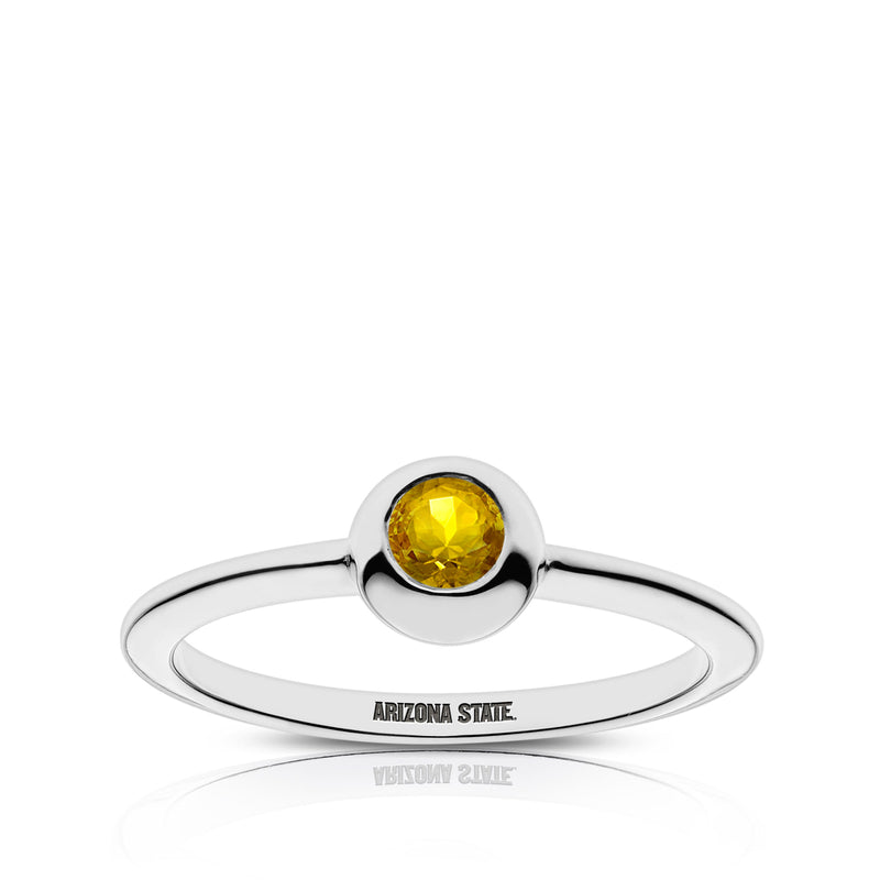 Arizona State University Yellow Sapphire Engraved Ring In Sterling Silver