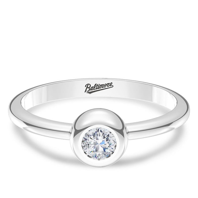 Baltimore Orioles Diamond Engraved Ring In Sterling Silver