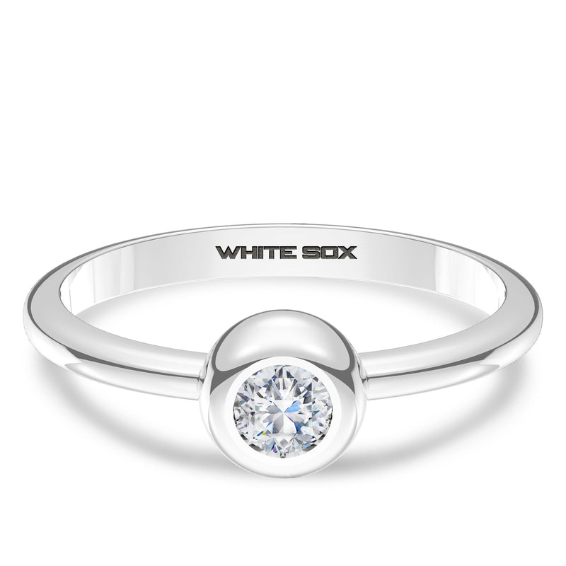 Chicago White Sox Diamond Engraved Ring In Sterling Silver