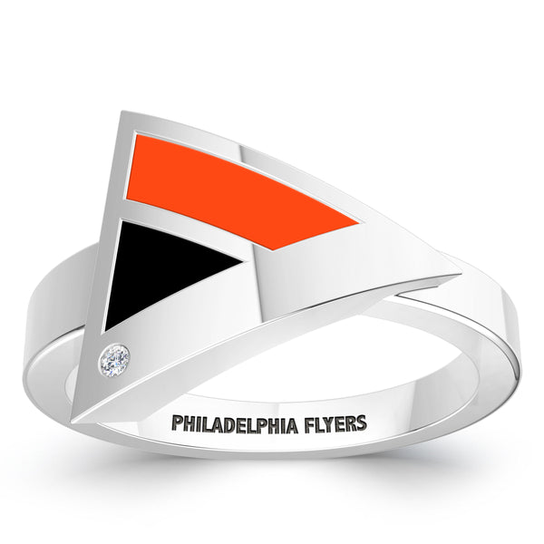 Philadelphia Flyers Diamond Engraved Geometric Ring In Sterling Silver
