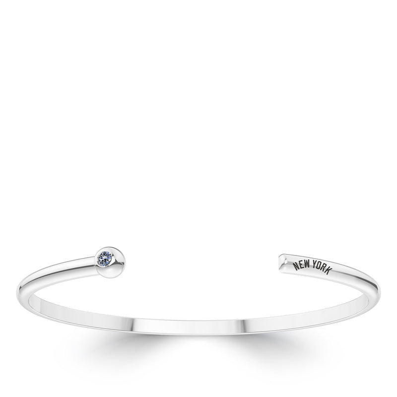 New York Yankees White Sapphire Engraved Cuff Bracelet In Sterling Silver