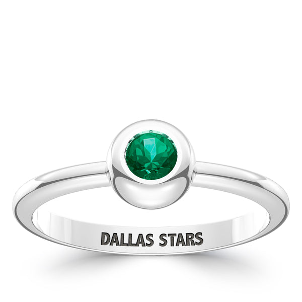 Dallas Stars Emerald Engraved Ring In Sterling Silver