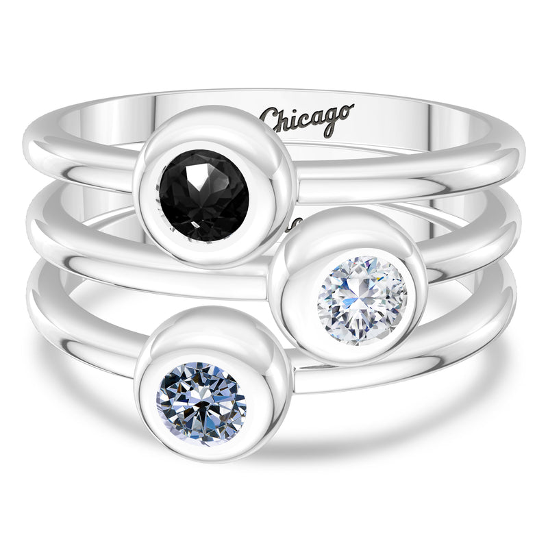Chicago White Sox White Sapphire Engraved Ring In Sterling Silver