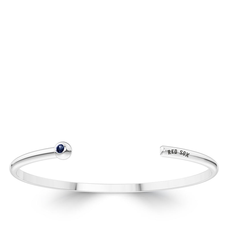 Boston Red Sox Sapphire Engraved Cuff Bracelet In Sterling Silver