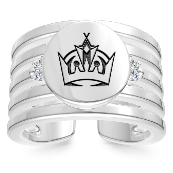 Los Angeles Kings Diamond Logo Engraved Multiband Ring In Sterling Silver