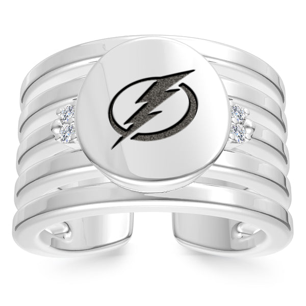 Tampa Bay Lightning Diamond Logo Engraved Multiband Ring In Sterling Silver