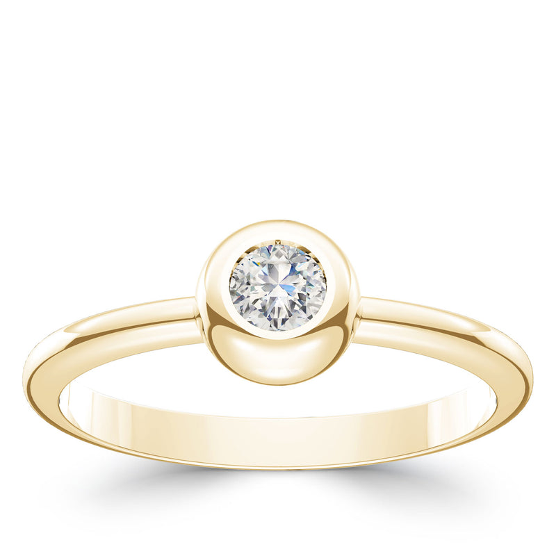 Bixlers Dew Drop Diamond Bezel Ring In 14K Yellow Gold