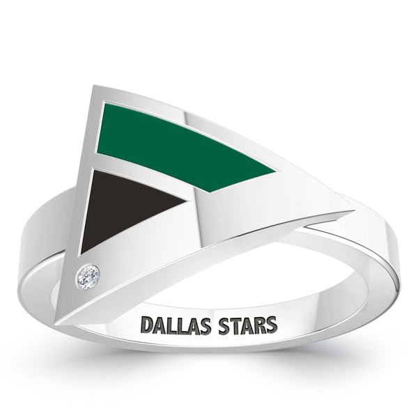 Dallas Stars Diamond Engraved Geometric Ring In Sterling Silver