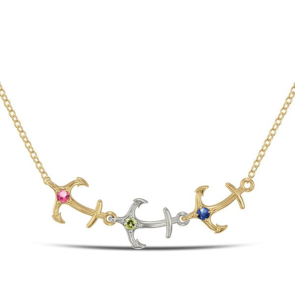 Bixlers Nautical Peridot, Pink Tourmaline and Sapphire Triple Anchor Necklace In Sterling Silver & 14K Yellow Gold