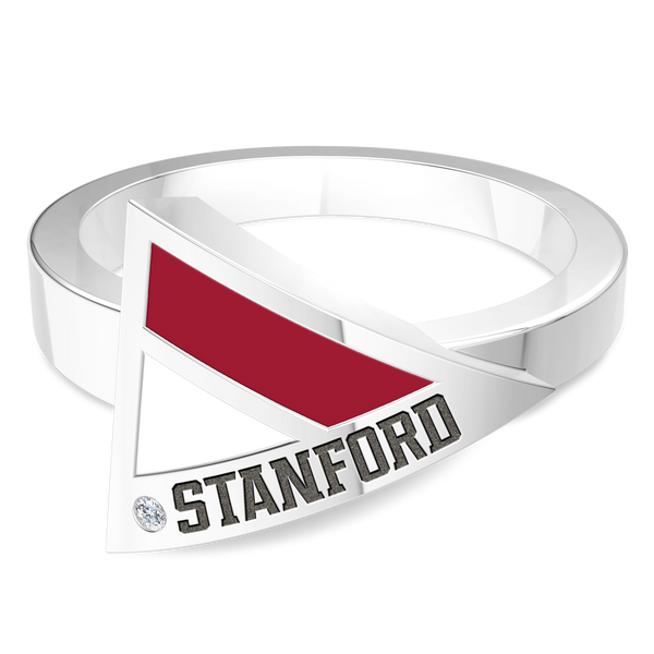 Stanford University Diamond Engraved Geometric Ring In Sterling Silver