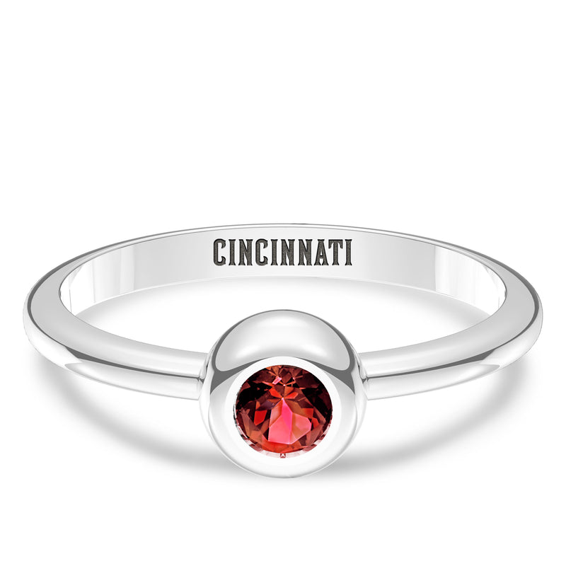 Cincinnati Reds Ruby Engraved Ring In Sterling Silver