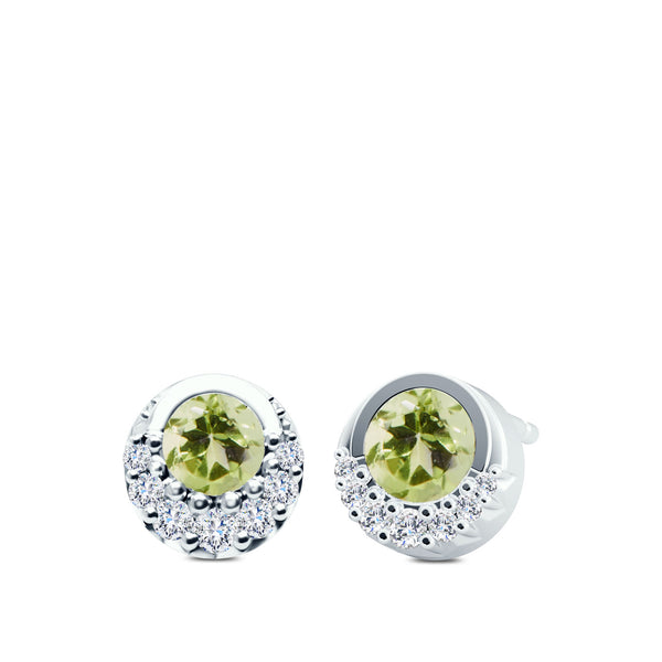 Bixlers Easton Diamond and Peridot Crescent Halo Earrings In 14k White Gold