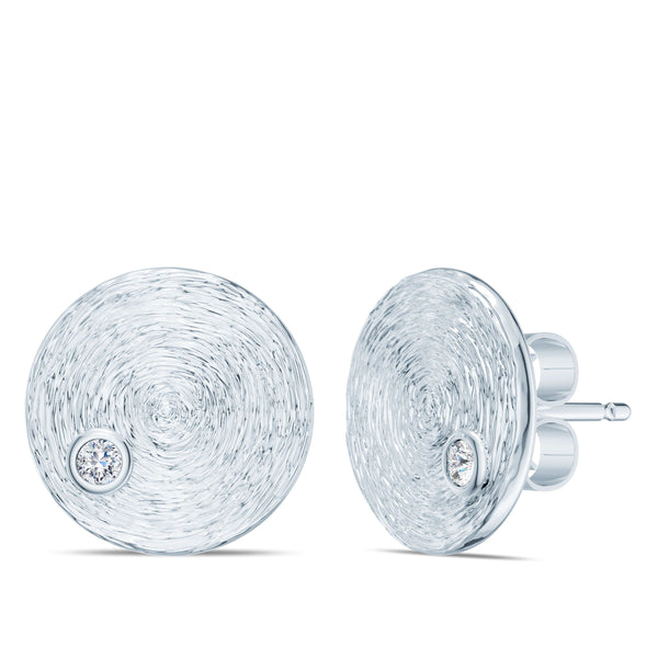 Bixlers Simplicity Diamond Circular Textured Disc with Earring In 14K White Gold